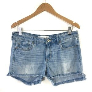 Abercrombie Frayed Hem Denim Shorts Cutoff Blue